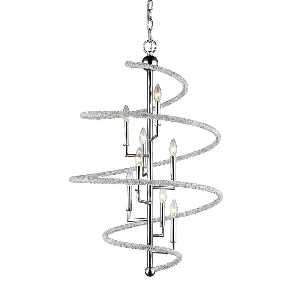 Filament Design Hartley 8-Light Chrome Pendant with Clear and Chrome Crystal and Steel Shade