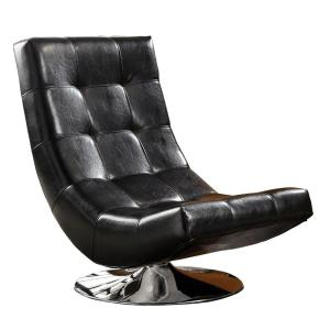 Trinidad Black Padded Leatherette Seat Accent Chair
