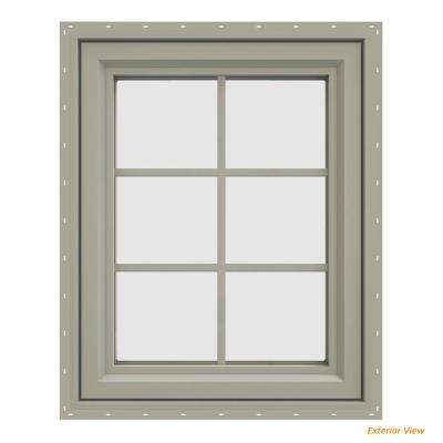 23.5 in. x 29.5 in. V-4500 Series Desert Sand Vinyl Left-Handed Casement Window with Colonial Grids/Grilles