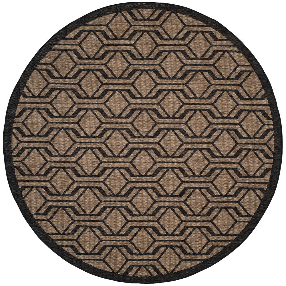 Safavieh Courtyard Brown Black 8 Ft X 8 Ft Indoor Outdoor Round