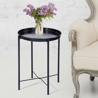 Black Metal Round End Table with Removable Tray (Set of 2)