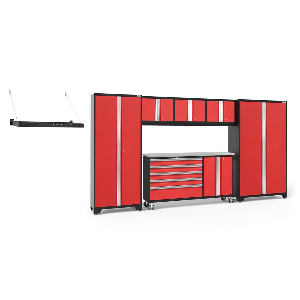 NewAge Products Bold Series 144 in. W x 77.25 in. H x 18 in. D 24-Gauge Welded Steel Garage Cabinet Set in Red (6-Piece)