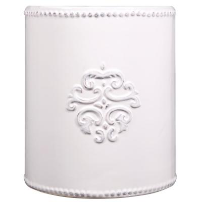 6 in. D White Utensil Crock With Embossed Medalion