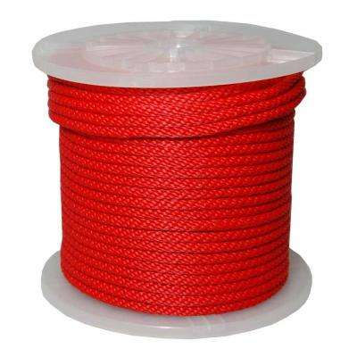 1/2 in. x 300 ft. Solid Braid Multi-Filament Polypropylene Derby Rope in Red