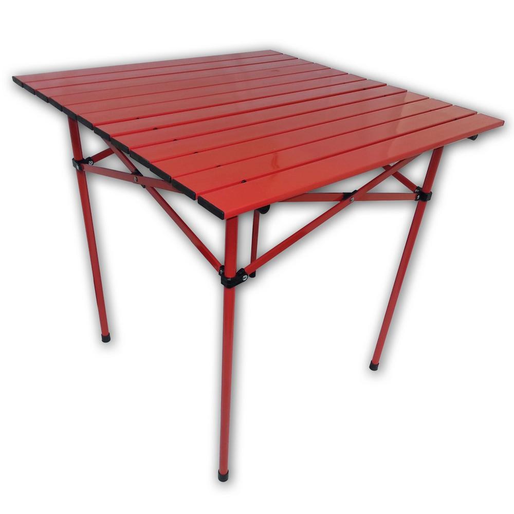Aspen Brands Red Aluminum Square Outdoor Picnic Table With Bag