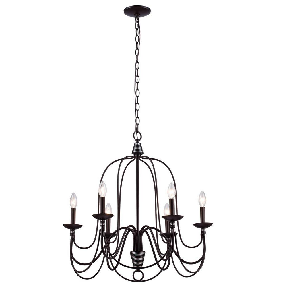 y decor blakely 6-light chandelier in matte black-l006mb