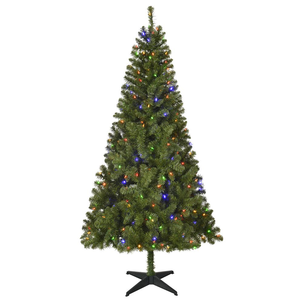 home accents holiday 6 5 ft pre lit led festive pine artificial