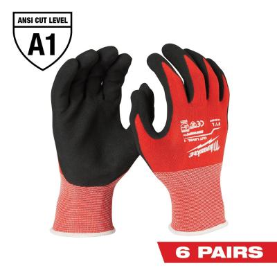 X-Large Red Nitrile Level 1 Cut Resistant Dipped Work Gloves (6-Pack)
