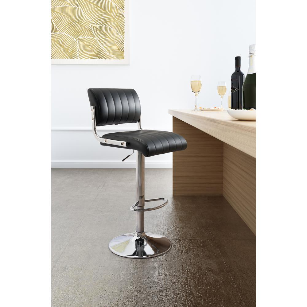 Zuo Juice 35 6 In Black Bar Chair 100598 The Home Depot