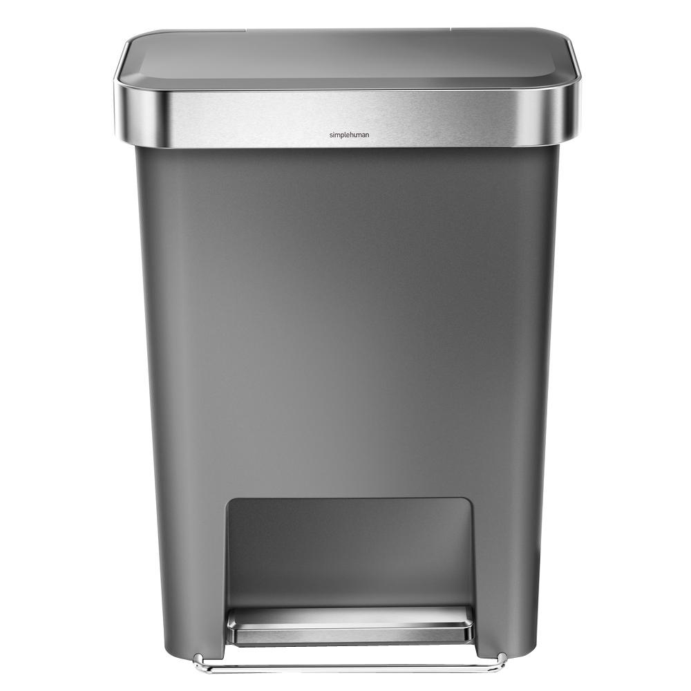 simplehuman 45-Liter Grey Plastic Rectangular Liner Rim Step-On Trash Can