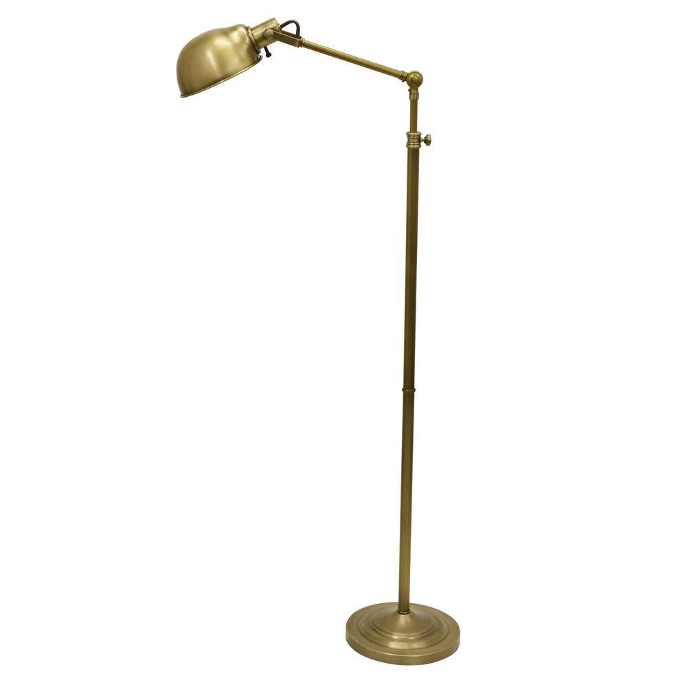 Dane Adjustable Pharmacy 71 in. Brass Floor Lamp with Metal Shade