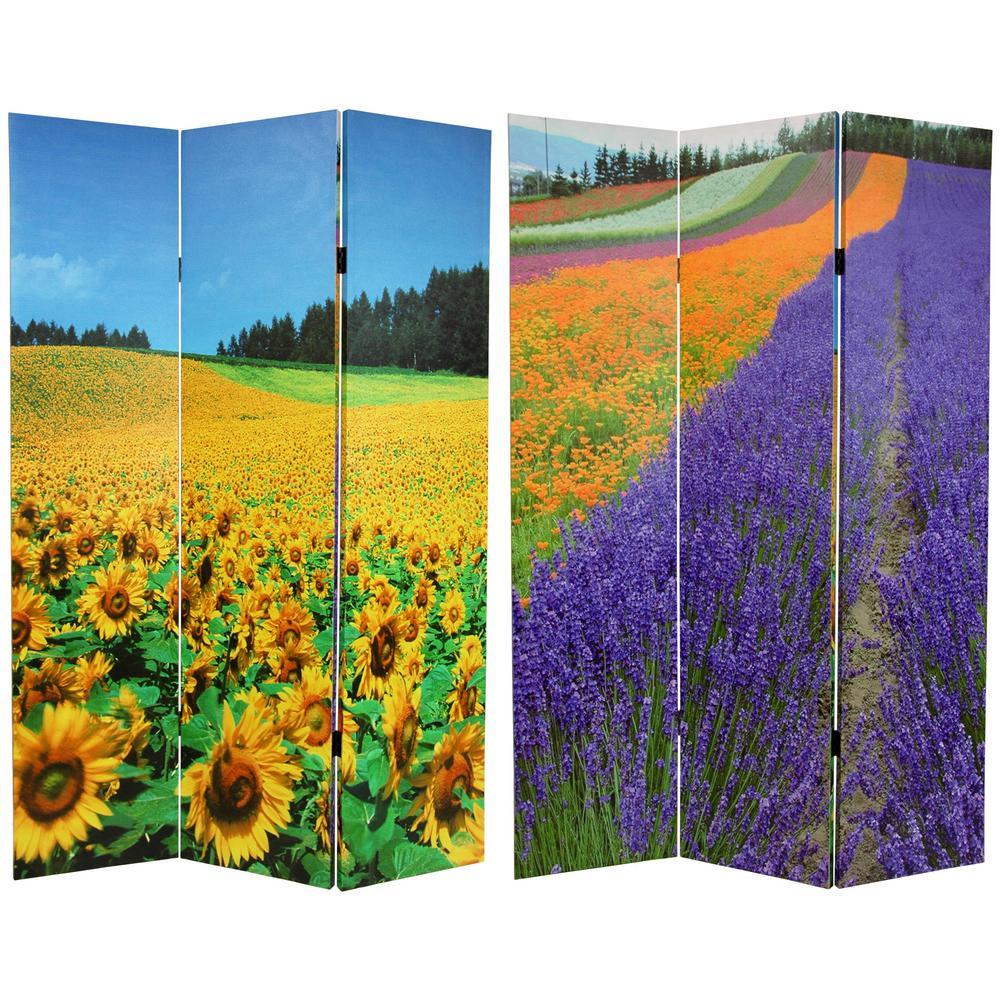 6 ft. Printed 3-Panel Summer Fields Room Divider