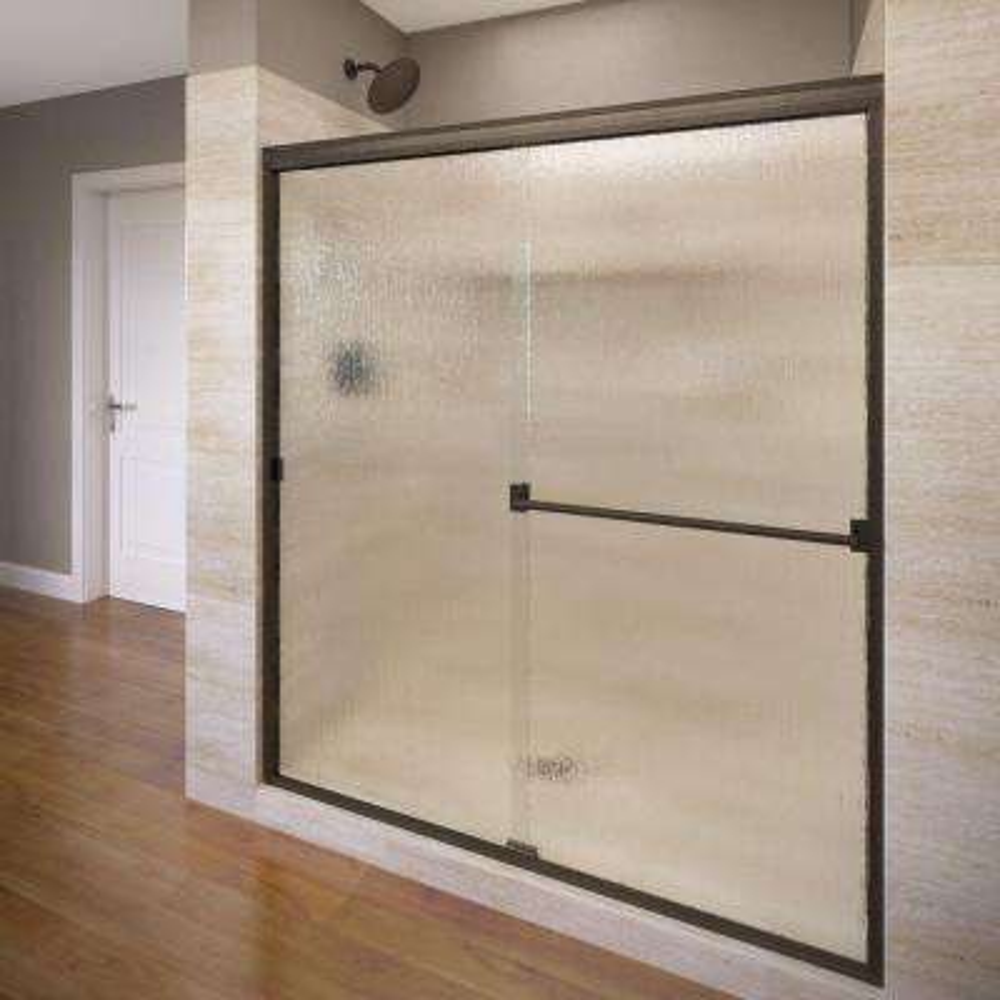 Classic 44 in. x 65.5 in. Semi-Frameless Sliding Shower Door in Brushed Nickel