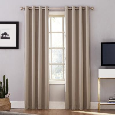 Oslo Woven Home Theater Grade Blackout Stone Grommet Single Curtain Panel - 52 in. W x 95 in. L