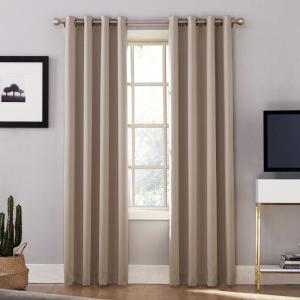 Sun Zero Oslo Woven Home Theater Grade Blackout Camel Grommet Single Curtain Panel - 52... by Sun Zero