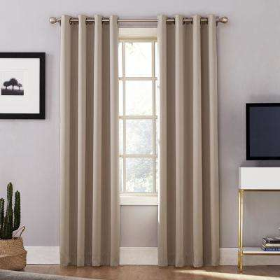 Oslo Woven Home Theater Grade Blackout Stone Grommet Single Curtain Panel - 52 in. W x 84 in. L