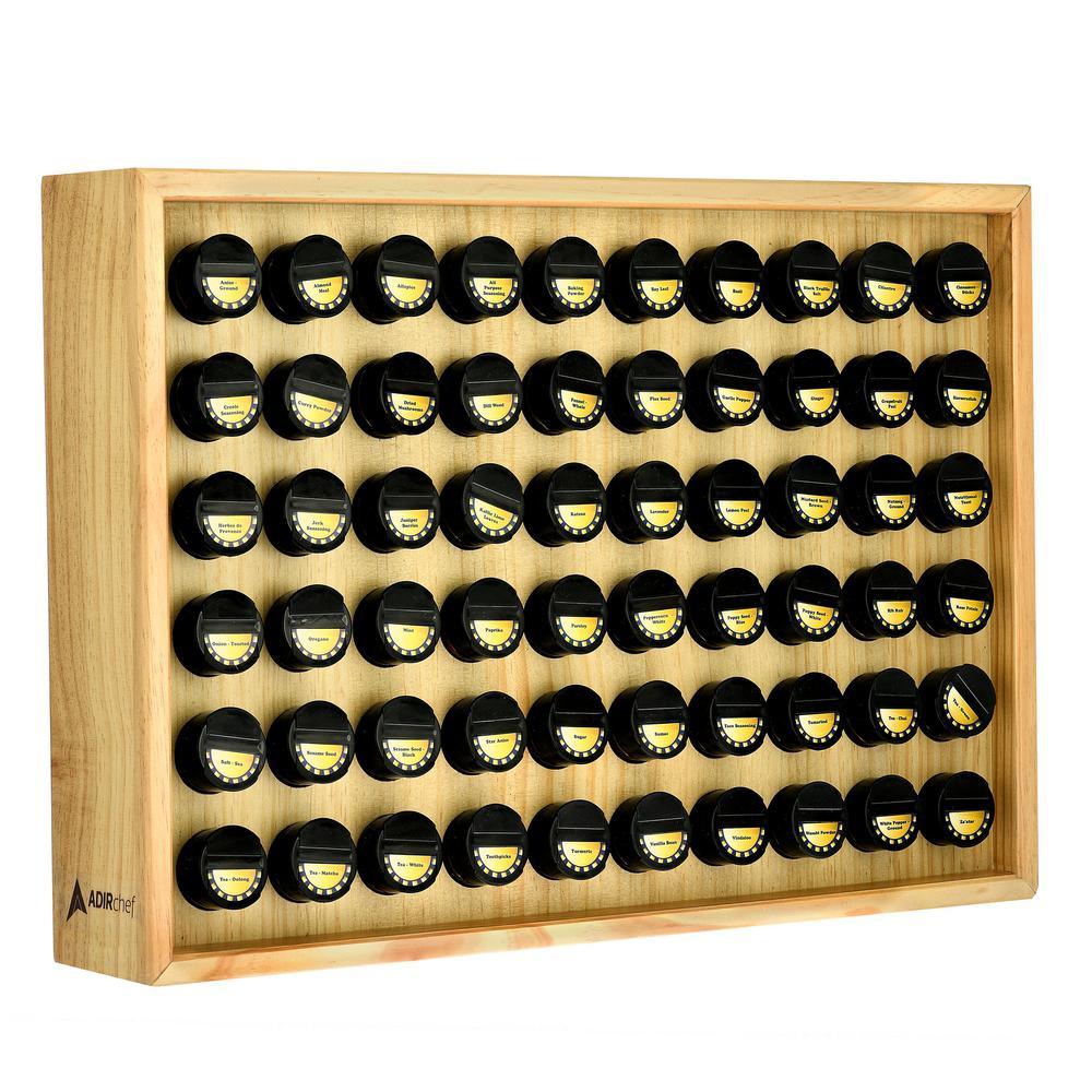 AdirHome 60.4 oz. Jars Maple Wood Spice Rack (61-Piece) 801-60-MPL