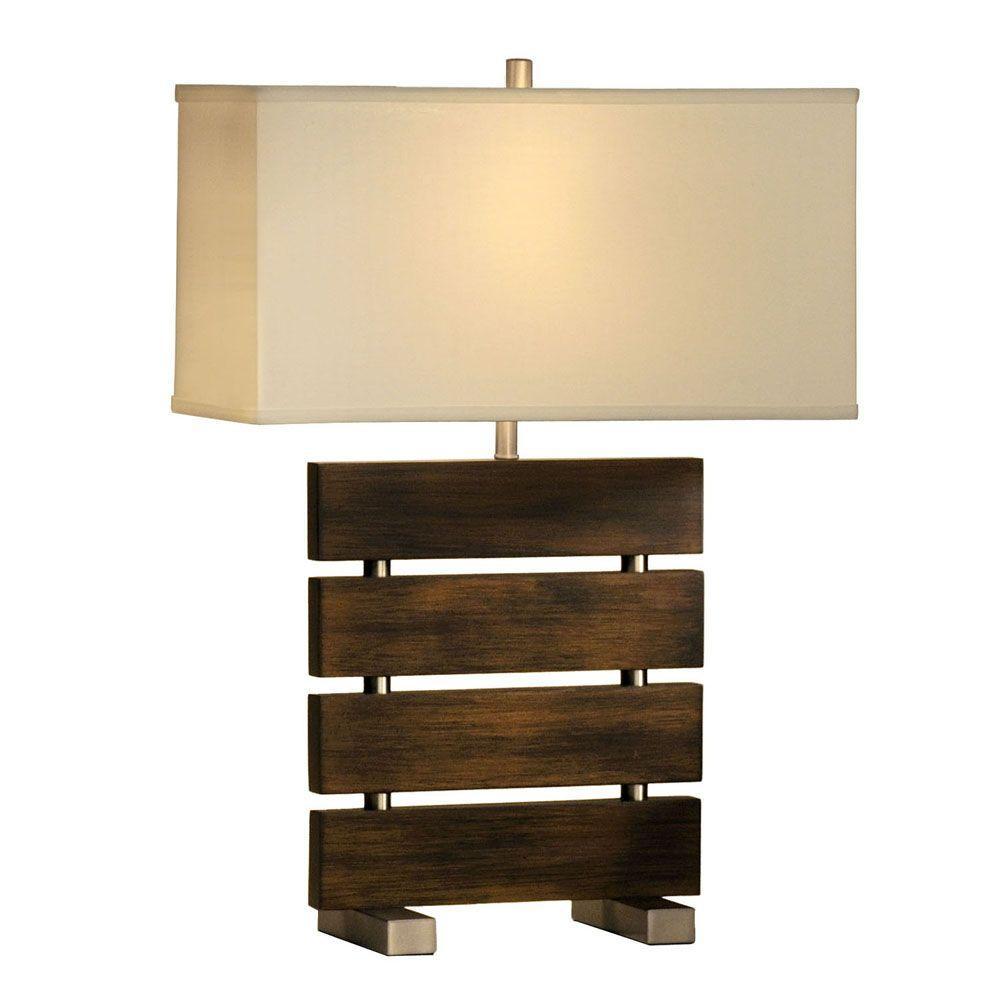 NOVA Divide 25 in. Dark Brown, Brushed Nickel Table Lamp