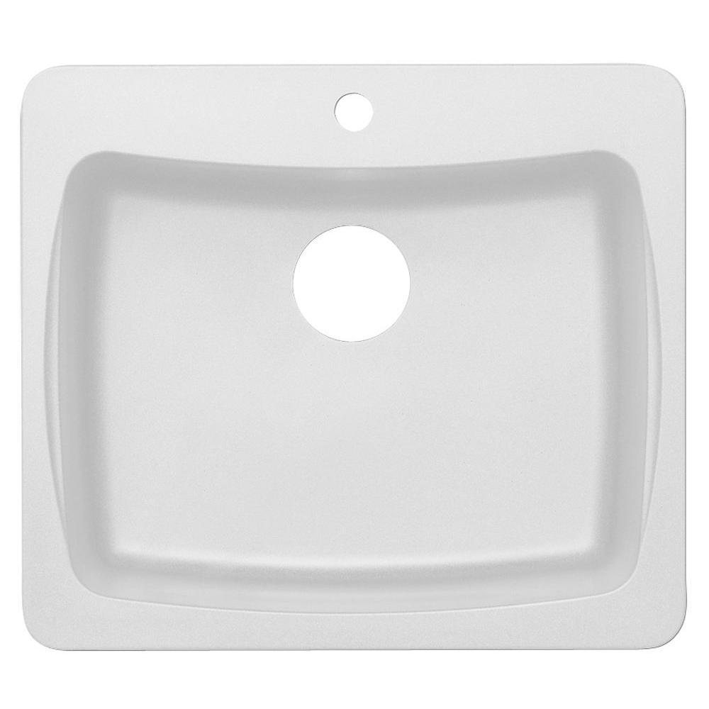 Dual Mount Granite 25 in. 1-Hole Single Bowl Kitchen Sink in