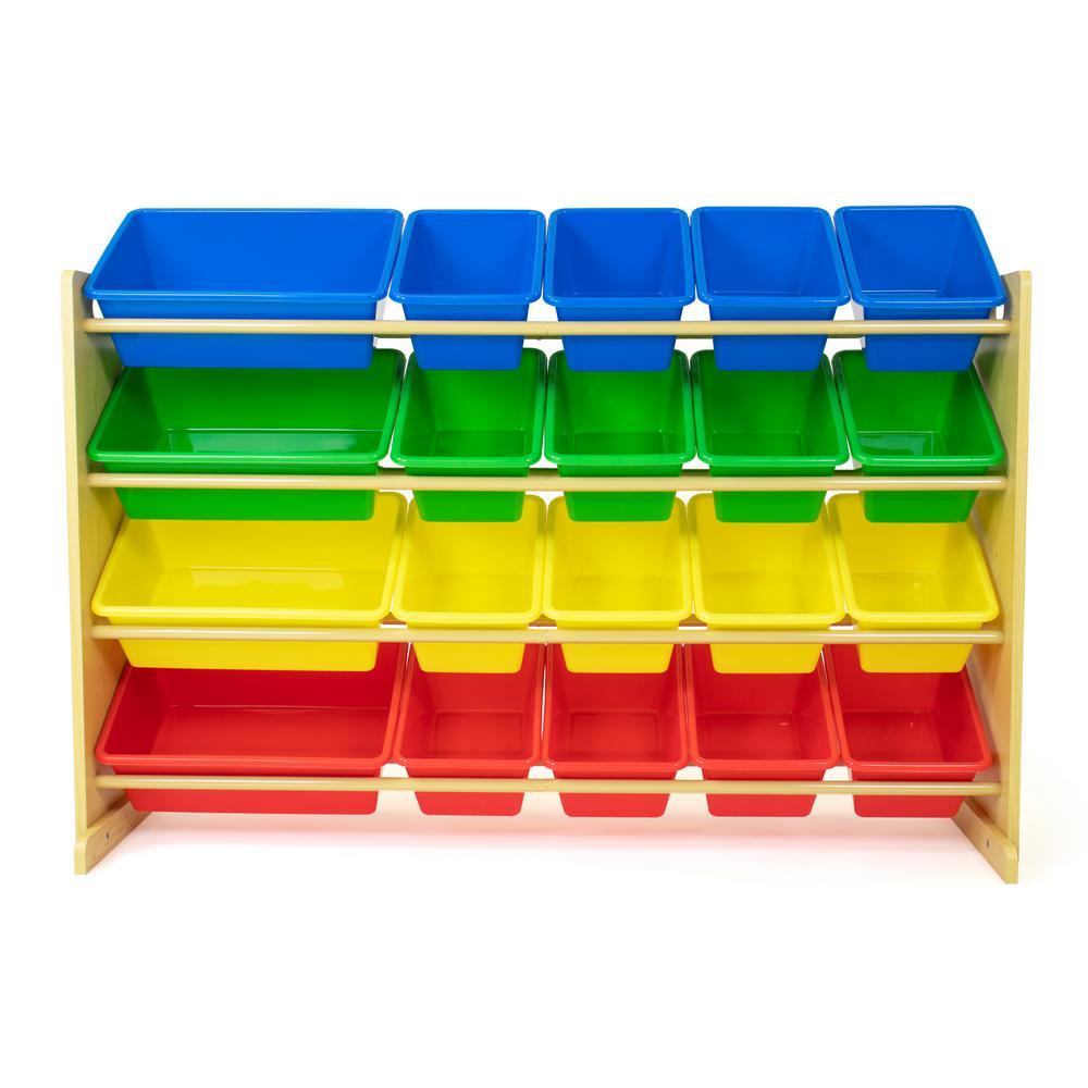 "Primary 31.5""H Engineered Wood Extra Large Toy Storage Organizer with 20 Plastic  Storage Bins"