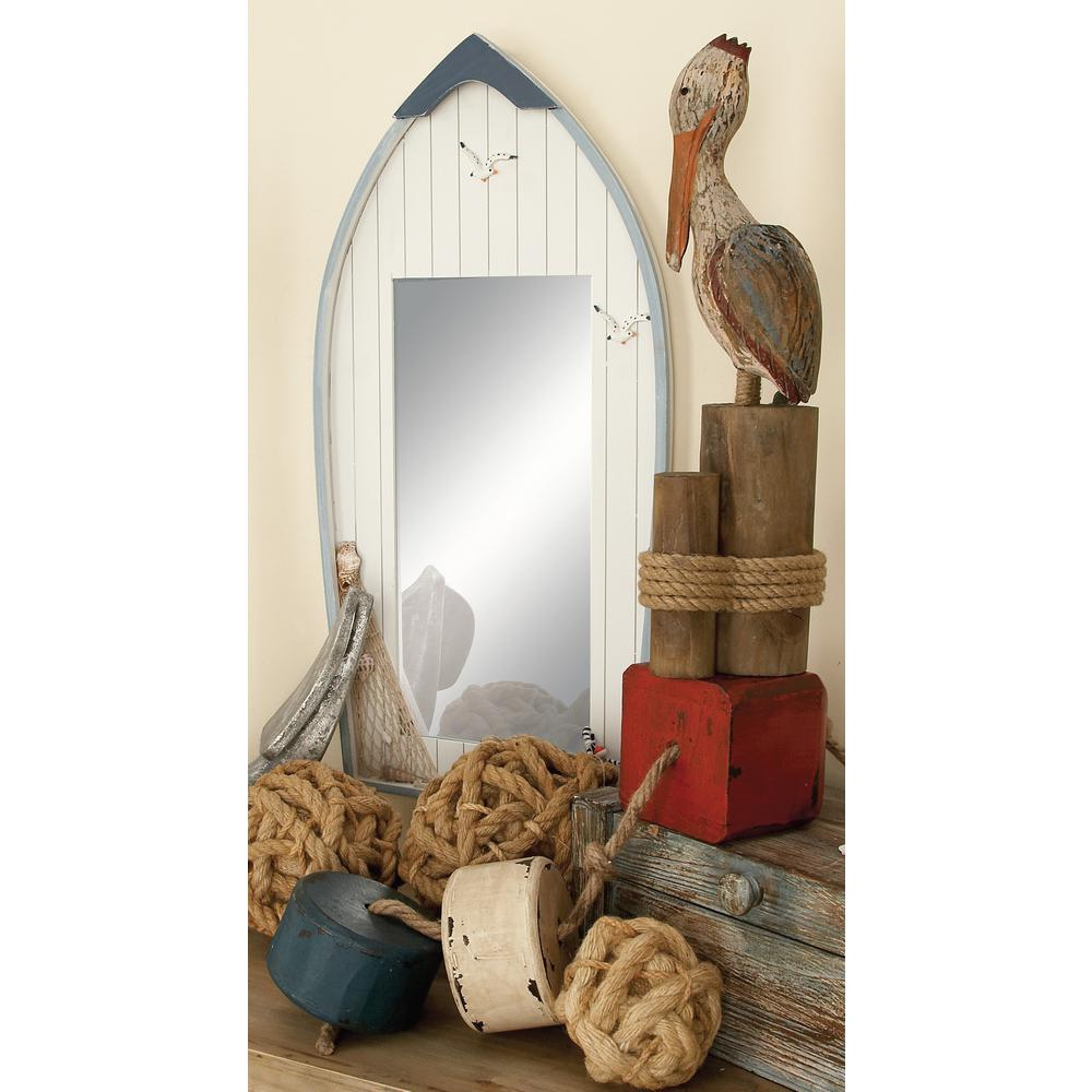 Rectangular Beige Plank Style Vertical Dingy Boat-Framed Wall Mirror