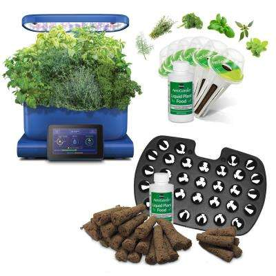 AeroGarden Harvest Touch, Blue with Gourmet Herbs Seed Pod Kit and Bonus Seed Starter System