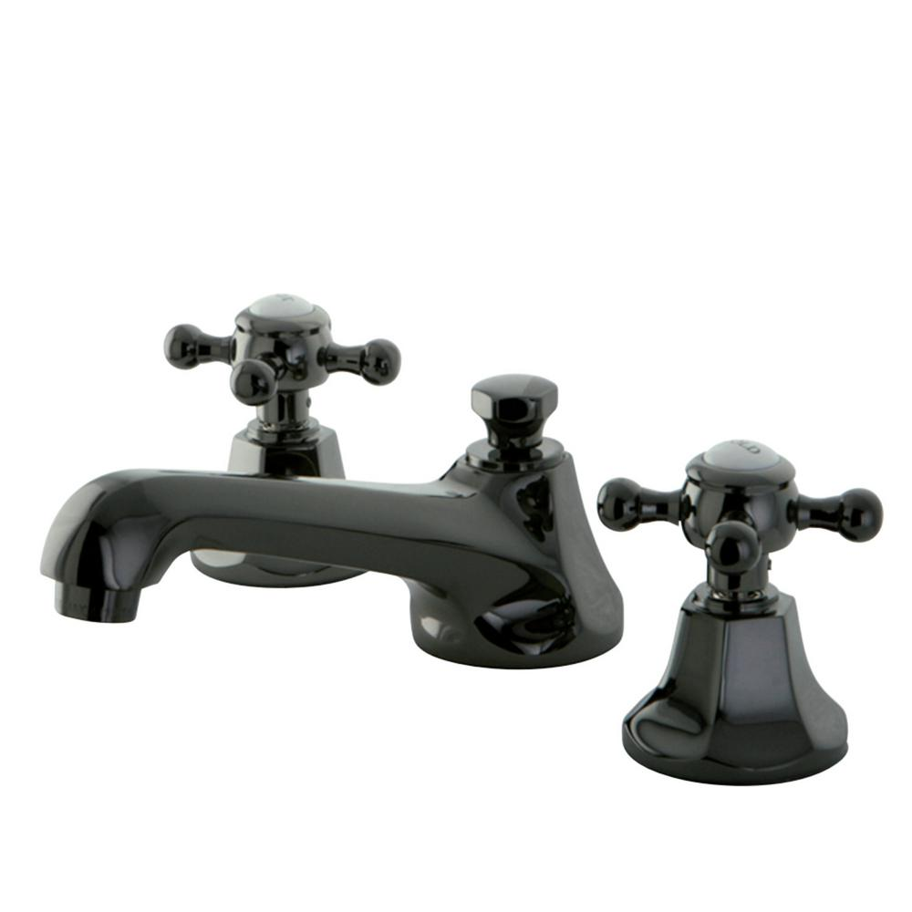 Kingston brass victorian cross 8 in widespread 2 handle bathroom faucet in matte black for Victorian widespread bathroom faucet cross handles