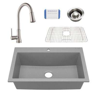 Camille All-in-One Drop-In Granite Composite 33 in. 1-Hole Single Bowl Kitchen Sink with Faucet and Drain in Matte Gray