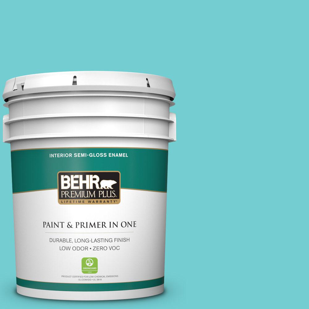 5-gal. #P460-3 Soft Turquoise Semi-Gloss Enamel Interior Paint