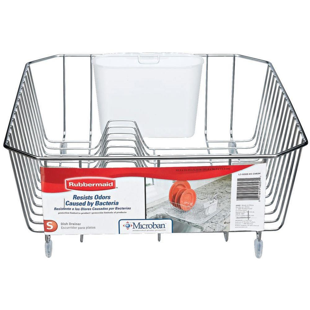 Rubbermaid Antimicrobial Small Chrome Dish Drainer