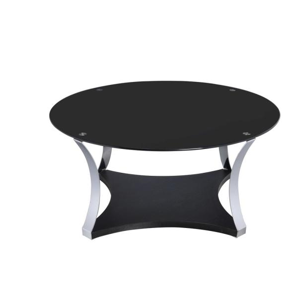 Amelia Black Glass And Chrome Coffee Table