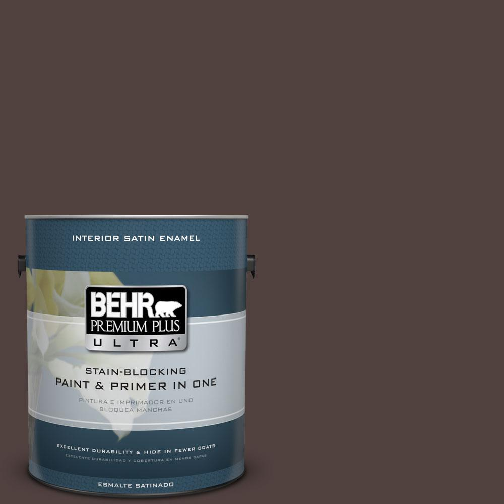 1 gal. #ECC-28-3 Charred Hickory Satin Enamel Interior Paint and Primer