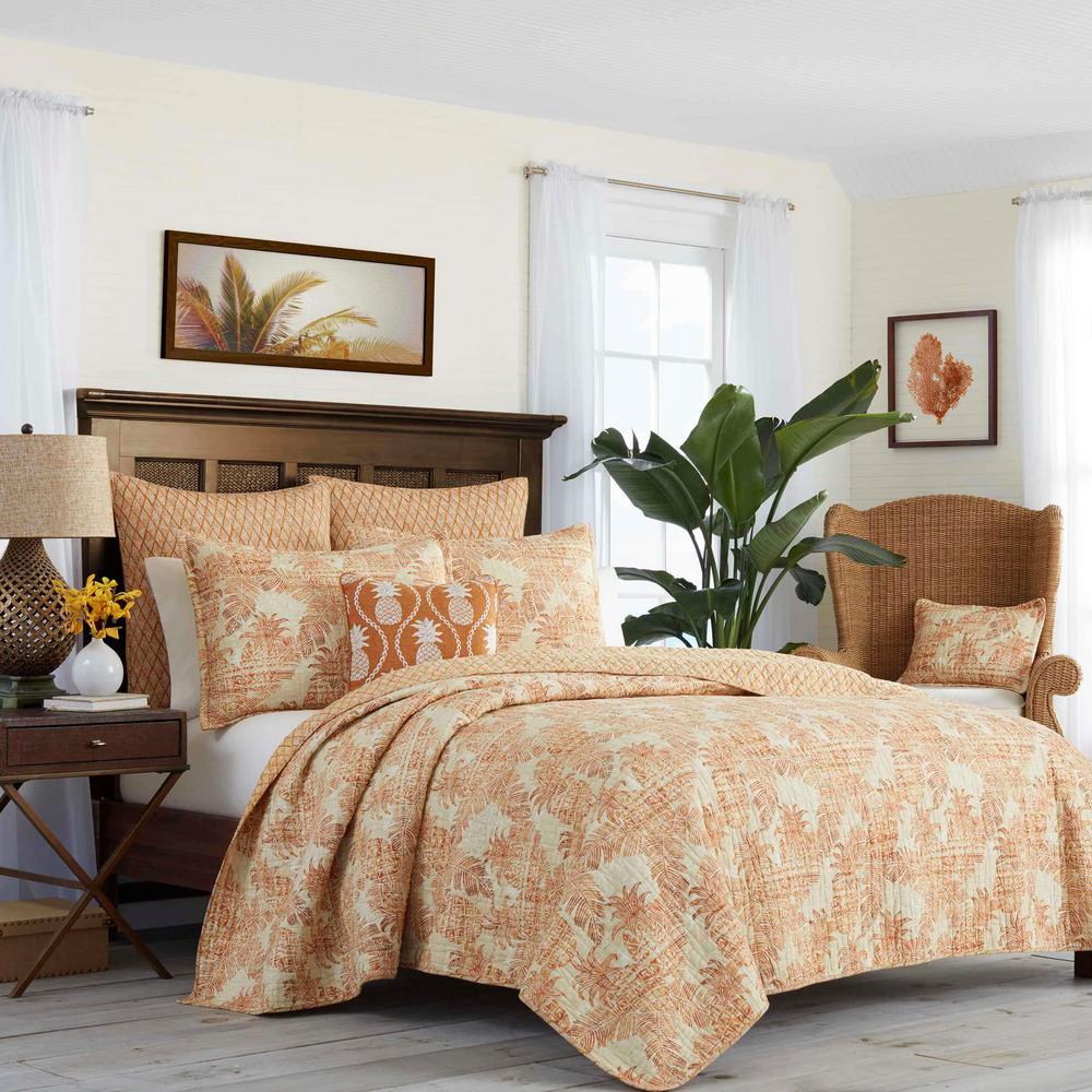 Batik Pineapple Spice Orange Full/Queen Cotton Quilt