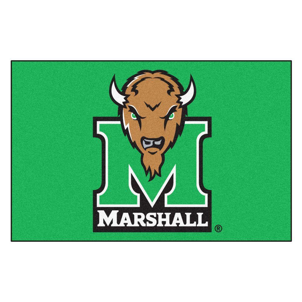Fanmats Ncaa Marshall University M Logo Green 2 Ft X 3 Ft Area Rug