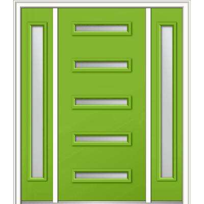 64 in. x 80 in. Davina Right-Hand Inswing 5-Lite Clear Low-E Painted Fiberglass Smooth Prehung Front Door with Sidelites
