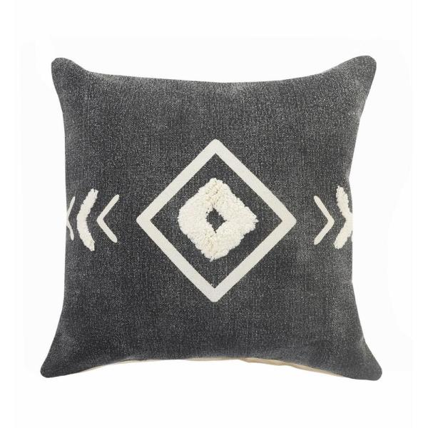 Geometric Black / White Tufted Diamond Cozy Poly-Fill 20 in. x 20 in. Throw Pillow