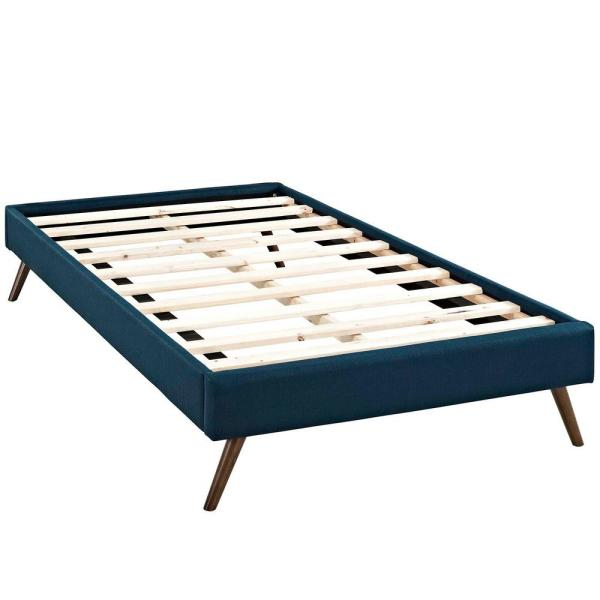 Loryn Azure Twin Bed Frame with Round Splayed Legs