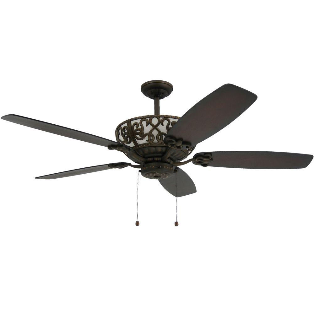 TroposAir Excalibur In Rubbed Bronze Uplight Ceiling Fan - White kitchen ceiling fan with light