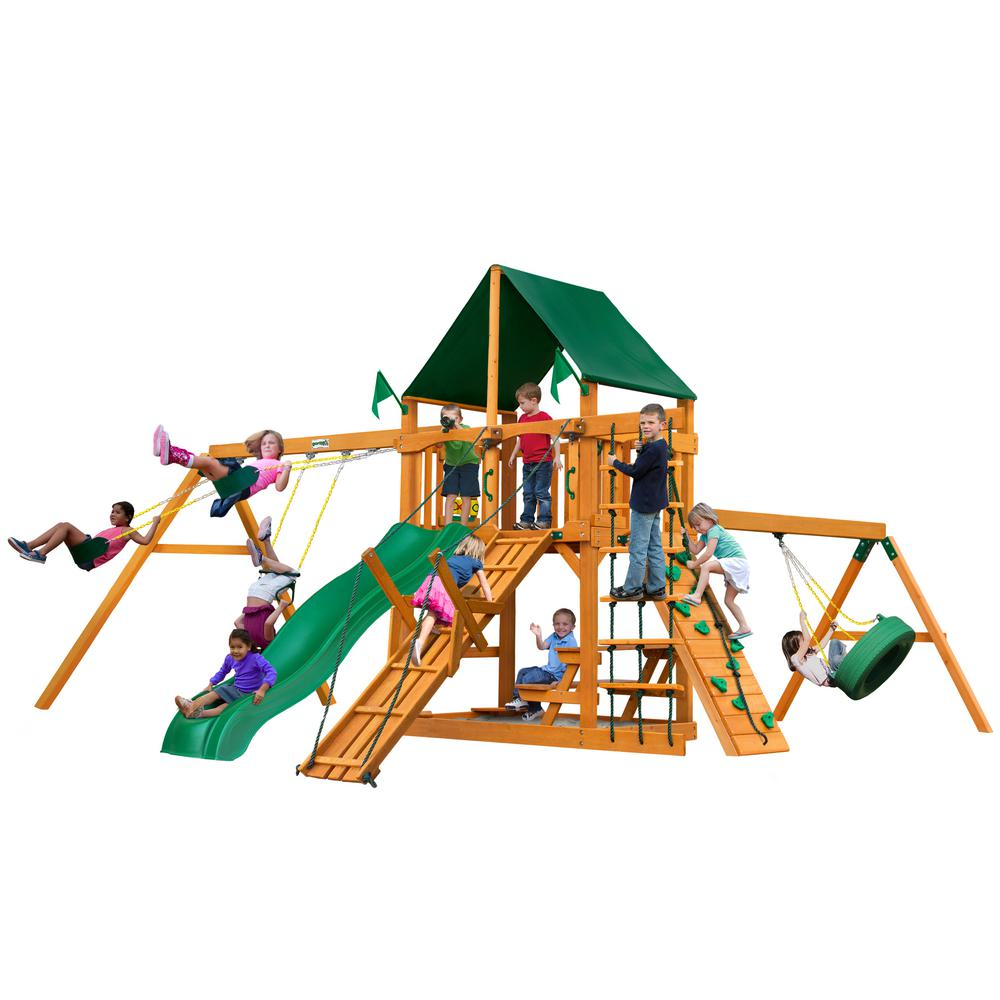 Gorilla Playsets Frontier Wooden Swing Set with Sunbrella® Canvas Canopy and Tire Swing