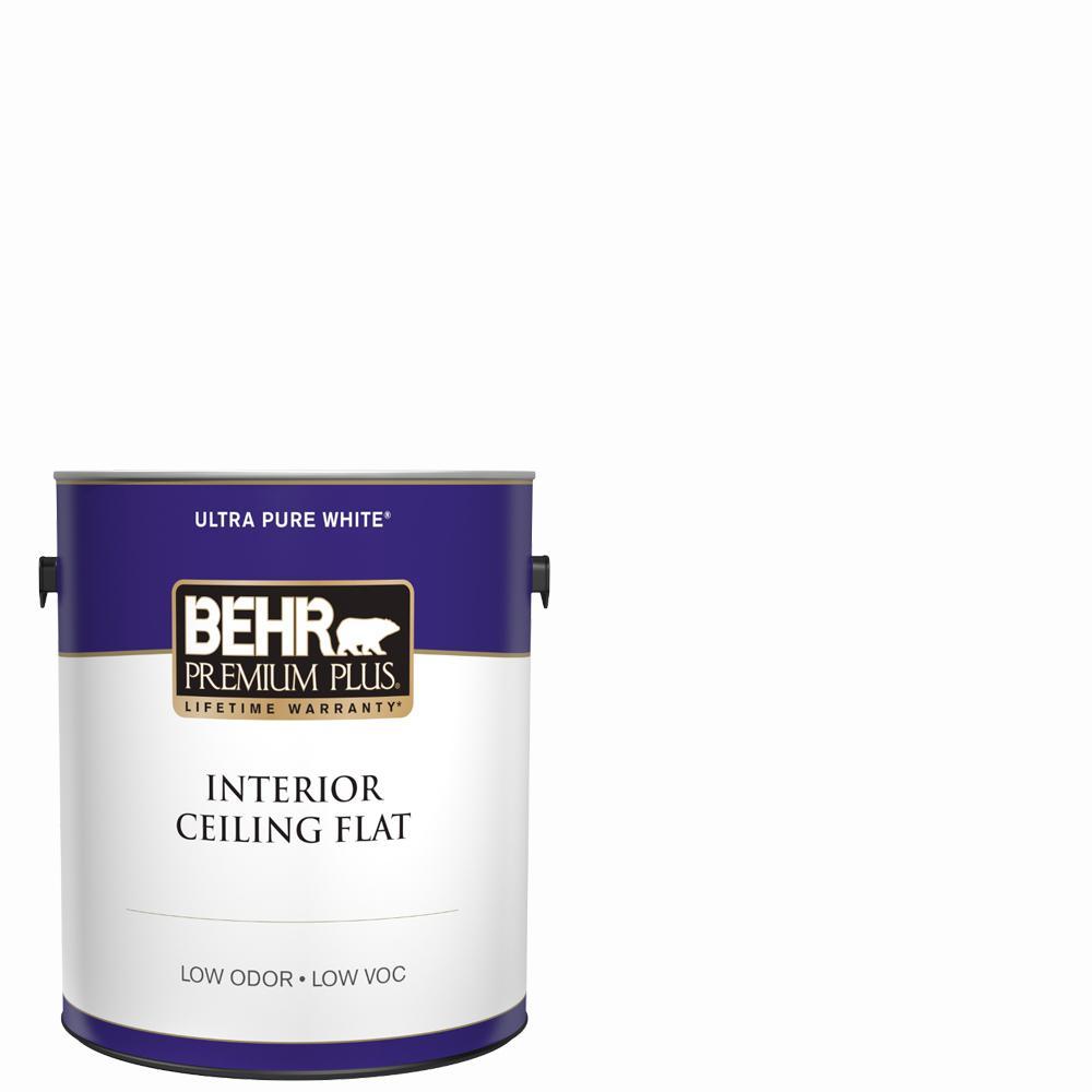 BEHR Premium Plus 1 Gal. White Flat Ceiling Interior Paint