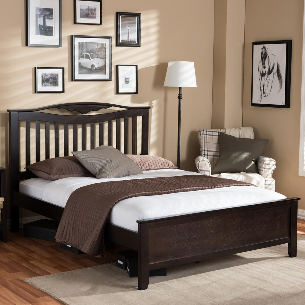 Dark Wooden Bed ~ Baxton studio seconique dark brown full platform bed