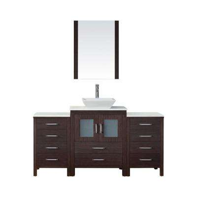 Dior 65 in. W Bath Vanity in Espresso with Stone Vanity Top in White with Square Basin and Mirror and Faucet