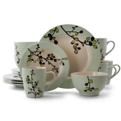 Retro Bloom 16-Piece Rustic Green Stoneware Dinnerware Set (Service for 4)
