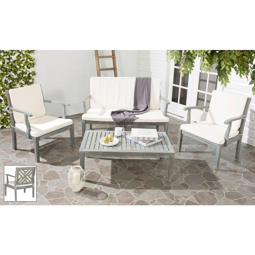 Safavieh Bradbury Ash Gray 4-Piece Patio Seating Set With