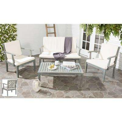 Bradbury Ash Gray 4-Piece Patio Seating Set with Beige Cushions