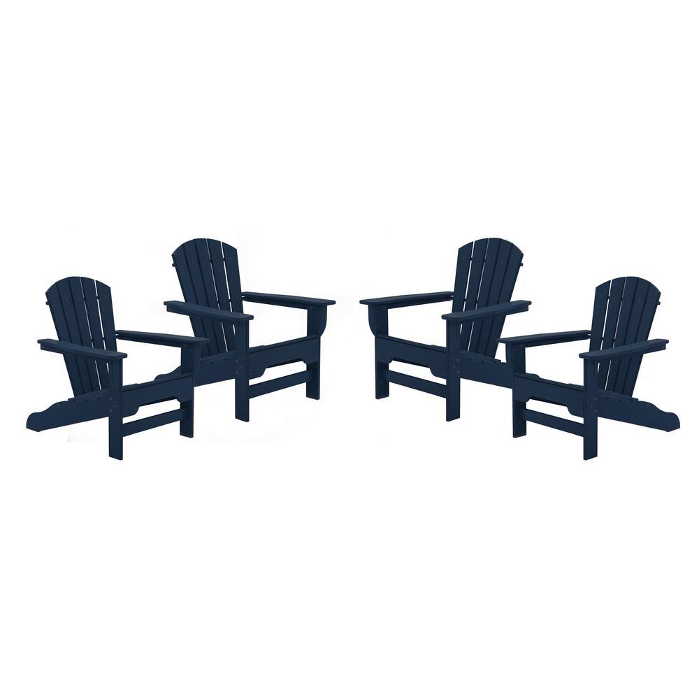 Boca Raton Navy Recycled Plastic Curveback Adirondack Chair (4-Pack)