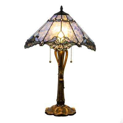 24.75 in. Blue Jewel Table Lamp with Stained Glass Victorian Crystal Lace Shade