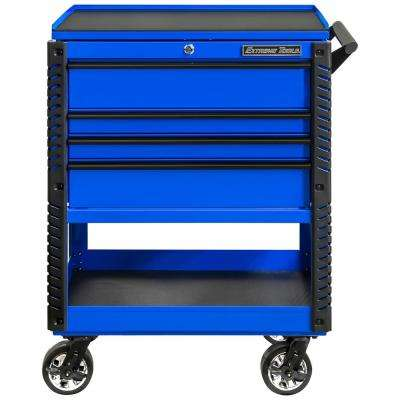 Professional 33 in. Deluxe 4-Drawer Tool Utility Cart with Bumpers in Blue