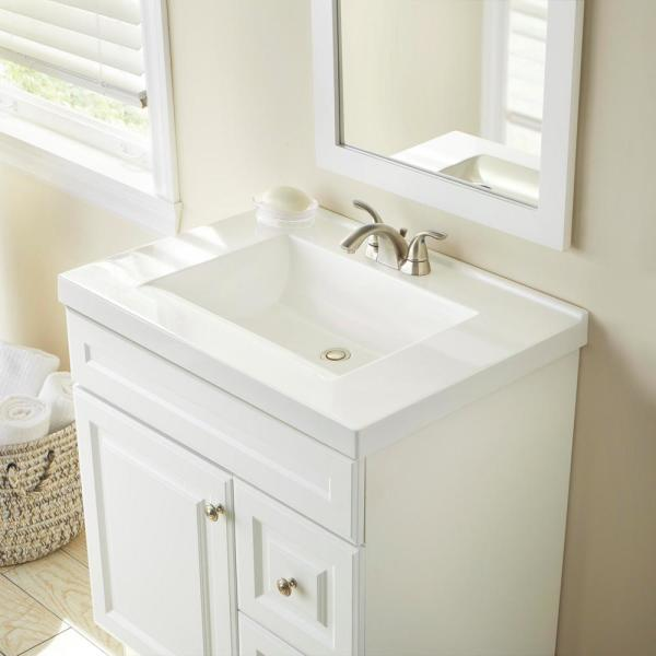 Glacier Bay 31 In W X 22 In D Cultured Marble Vanity Top In White With White Sink Hu3122r Wh The Home Depot