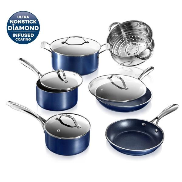 Classic Blue 10-Piece Aluminum Ultra-Durable Non-Stick Diamond Infused Cookware Set with Glass Lids